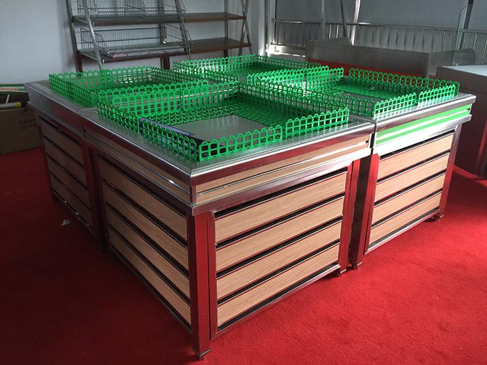 生鲜钢木货架012