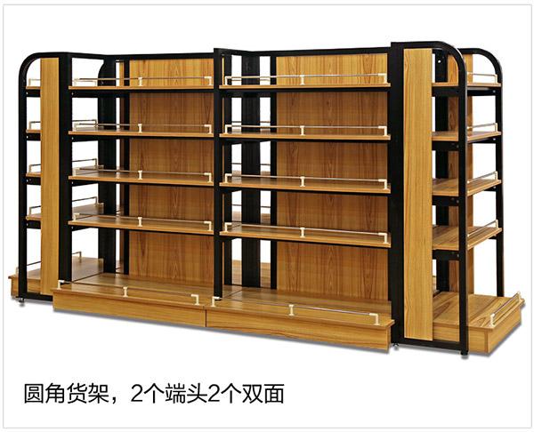 超市鋼木結合貨架