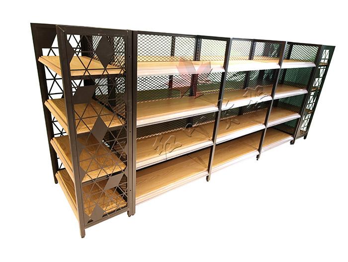 红叶四柱背网木纹转印货架双面