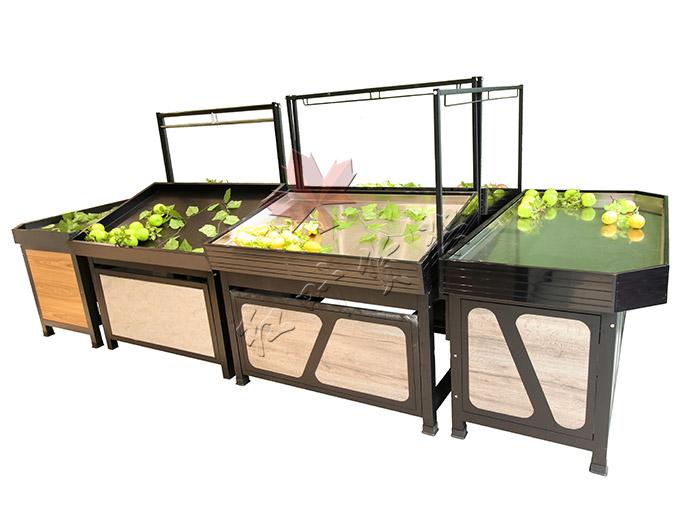GG扑克永輝款單層鋼木果蔬架加端頭