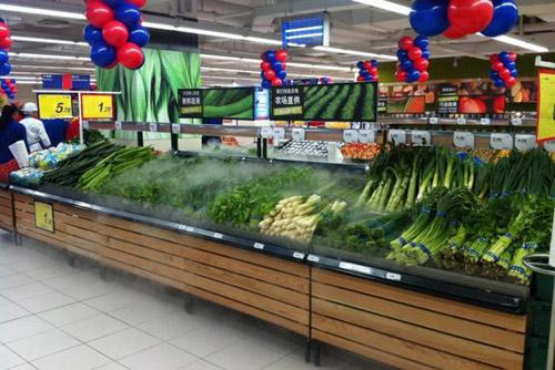 蔬菜水果貨架上麵飄的白色煙霧怎麽弄的