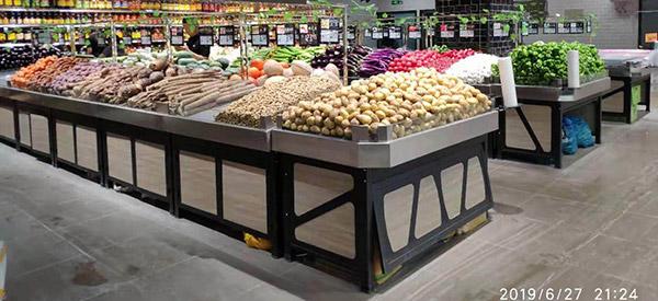 鋼木結合不鏽鋼麵蔬菜水果貨架
