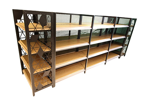 HY-四柱背网木纹转印超市货架双面