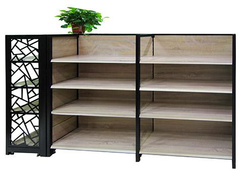 HY-复古双面钢木超市货架